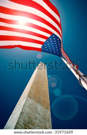 Washington monument with US flag - stock photo