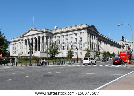 Washington - NOV 9 :Treasury Building, the headquarters of the United States Department of the Treasury. November 9, 2011. - stock photo