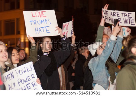 WASHINGTON - November 12: Protesters denounce Donald Trump after his election as president of the United States in Washington, DC on November 12, 2016