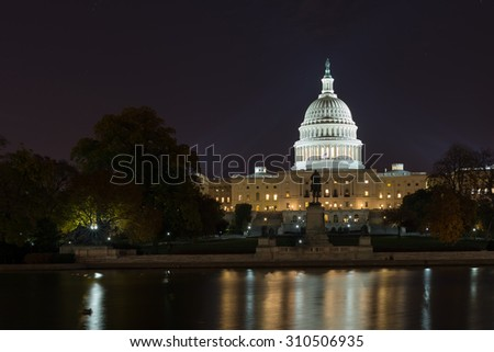 Washington - November 6: The US Capitol building at night, on November 6, 2013.
