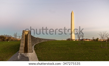 Washington - November 12: The Washington Monument at dusk at the National Mall in Washington DC, on November 12, 2015.