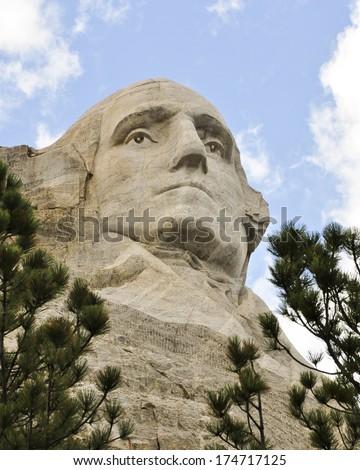 Washington on Rushmore - stock photo
