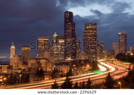 Washington's biggest city with weekend traffic - stock photo
