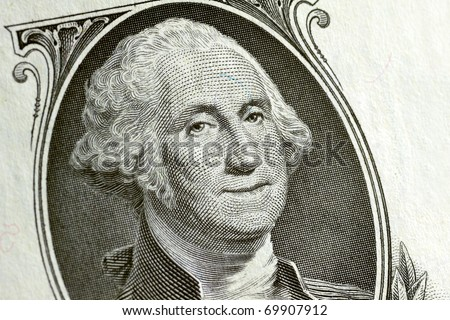 Washington smiling on a 1 dollar bill - stock photo