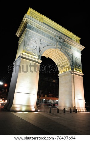 Washington Square Arch in the West Village of Manhattan is a monument to George Washington. - stock photo