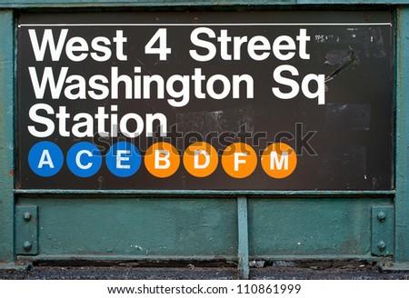 Washington Square subway station in New York City. - stock photo