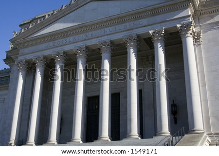 Washington State Capitol Legislative Building. Image is composed so that only the entrance is shown. The dome is not visible. - stock photo