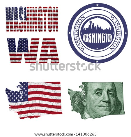 Washington state collage (map, stamp,word,abbreviation) in different styles in different textures - stock photo