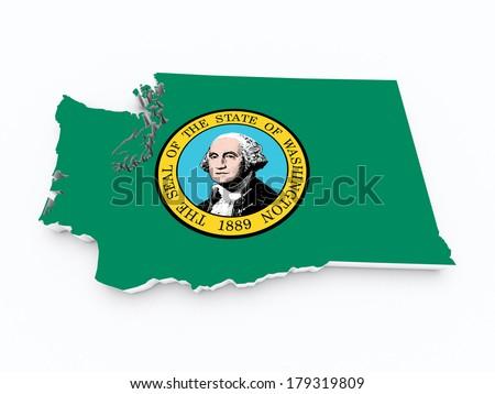 washington state flag on 3d map - stock photo