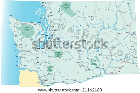 Washington State Road Map With Interstates U S Highways And State Roads All Elements On