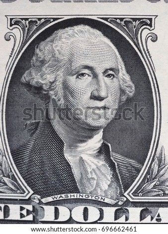 WASHINGTON, USA - CIRCA AUGUST 2017: Detail of President George Washington engraving on 1 dollar note money (USD), currency of United States of America