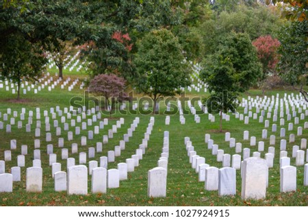 WASHINGTON,USA - OCTOBER 11: military gravestones at the cemetery of Arlington on October 11, 2017 in Washington, USA