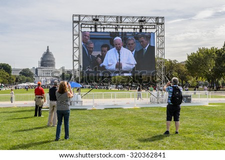 WASHINGTON, USA - SEP 24, 2015: Pope Francis greets the people at the Congress Building during his visit in USA - stock photo
