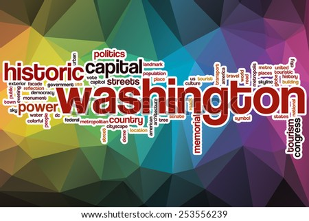 Washington word cloud concept with abstract background - stock photo