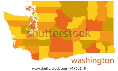 washinton state detailed map - stock photo