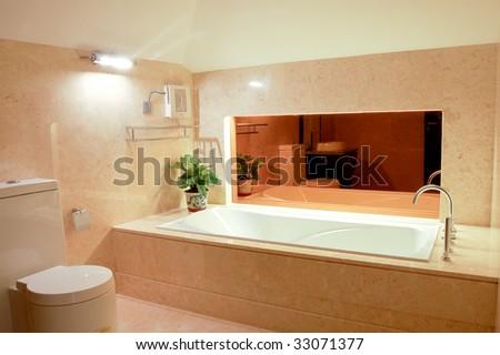 washroom with big bathtub - stock photo