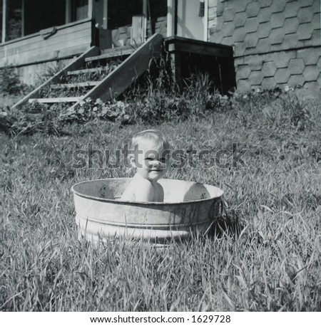Washtub Baby - stock photo