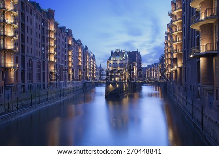Wasserschloss in the traditional Speicherstadt in Hamburg, Germany - stock photo