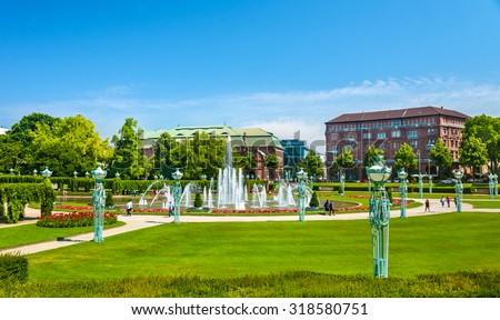 Wasserspiele fountain on Friedrichsplatz square in Mannheim - Germany - stock photo