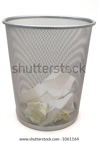 Waste Basket with Paper