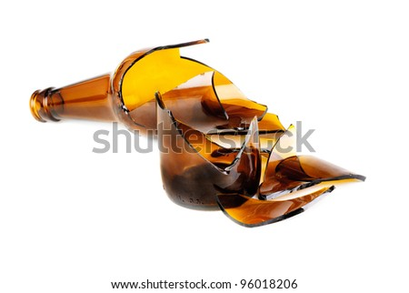 Waste glass.Recycled.Shattered brown bottle - stock photo