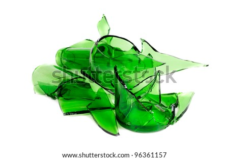 Waste glass.Recycled.Shattered green  bottle - stock photo