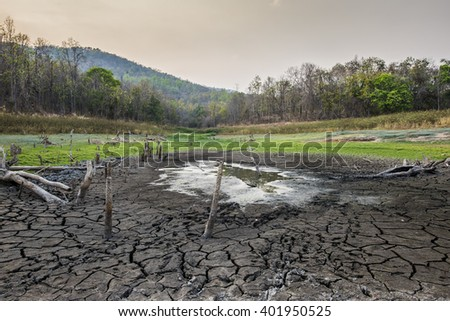 Waste Land in summer dry weather the dam running out of water - stock photo
