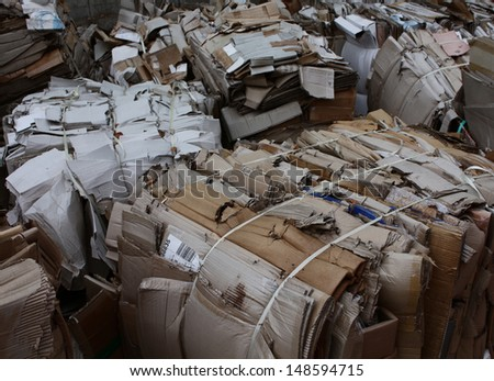 Waste management bulk recycling waste paper - stock photo