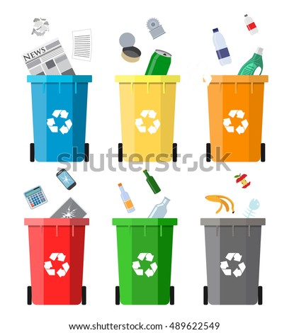 Waste management concept.Colored waste bins with trash. illustration in flat design Raster version