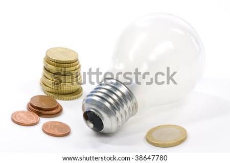 waste of energy, old lightbulb - stock photo