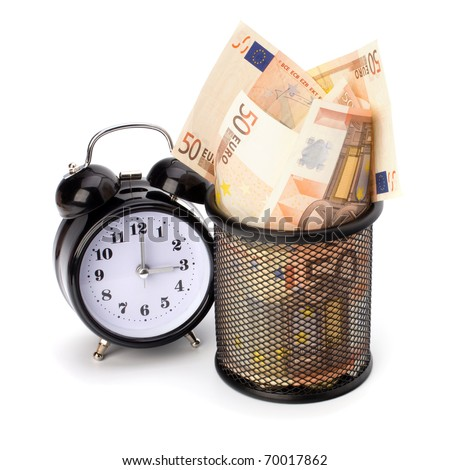 Waste of money concept. Euro currency in garbage bin isolated on white background. - stock photo