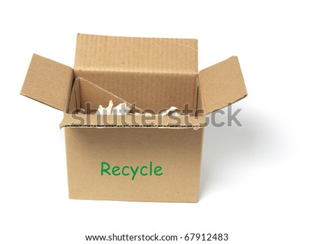 Waste Papers in Cardboard Box on White Background