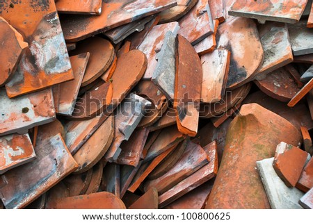 Waste roofing tiles - stock photo