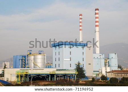 Waste to energy plant in Brescia, Lombardy - Italy - stock photo
