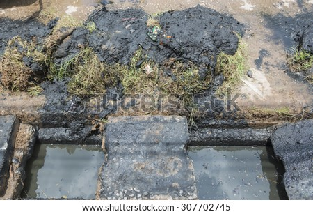 Waste water and mud from urban canal. Environmental concept. select focus. - stock photo