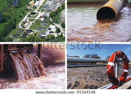 waste water - collage - stock photo