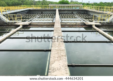 waste water in Wastewater treatment pond. - stock photo