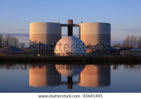Waste water treatment plant in Holland. - stock photo