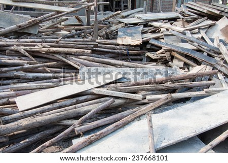 Waste wood pile texture background