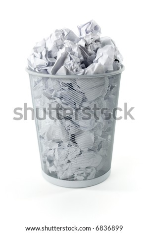 Wastebasket full up with crumpled paper. Isolated on white background. Front view
