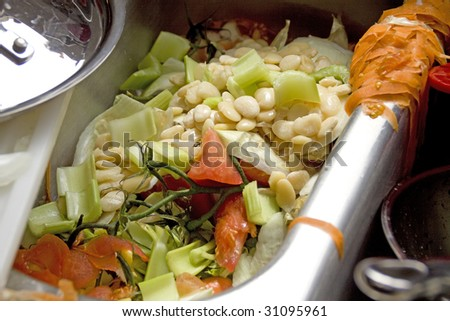 wasted food in sink - stock photo