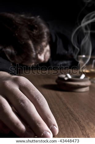 Wasted on the bar after a night of drinkin. - stock photo