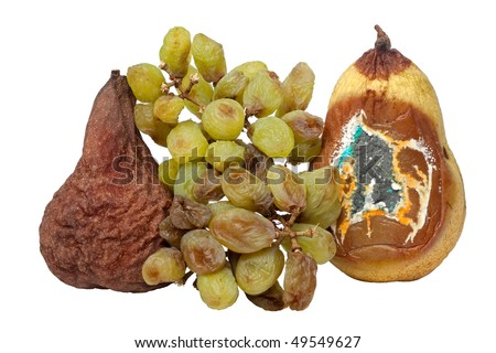 Wasted, Rotting Pears and Grapes - stock photo