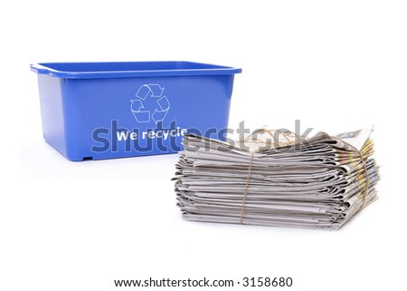 Wastepaper and blue plastic disposal bin with white recycle symbol over white - stock photo