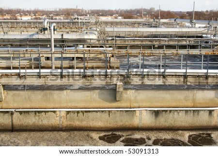 Wastewater treatment plant fragment - stock photo