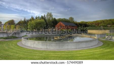 wastewater treatment plant process - stock photo