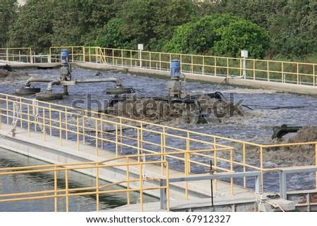 Wastewater treatment process - stock photo