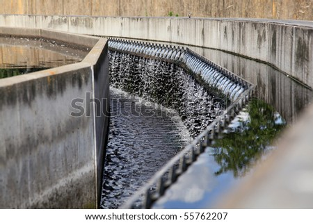 Wastewater treatment process details - stock photo