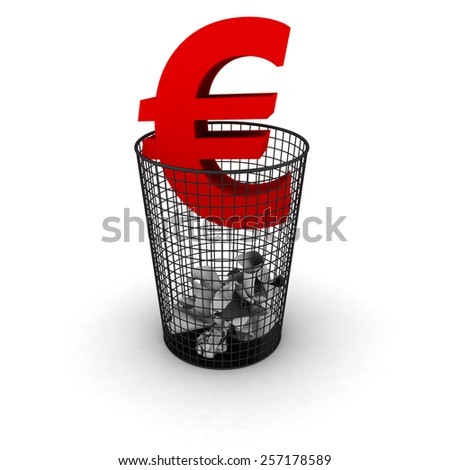 Wasting Money Concept - Euro Symbol in Bin - stock photo