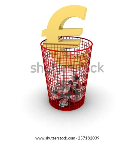 Wasting Money Concept - Gold Euro Symbol in Bin - stock photo